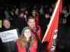 Auch die Jusos Lünen zeigen Flagge – hier Daniel Dauster, Nina Kotissek und Vorsitzender Daniel Wolski